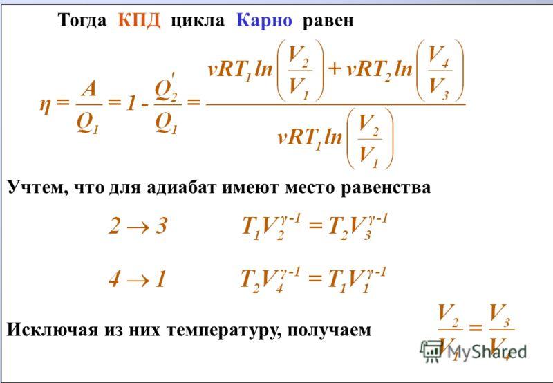 Тогда КПД цикла Карно равен Учтем, что для адиабат имеют место равенства Исключая из них температуру, получаем Тогда КПД цикла Карно равен Учтем, что для адиабат имеют место равенства Исключая из них температуру, получаем