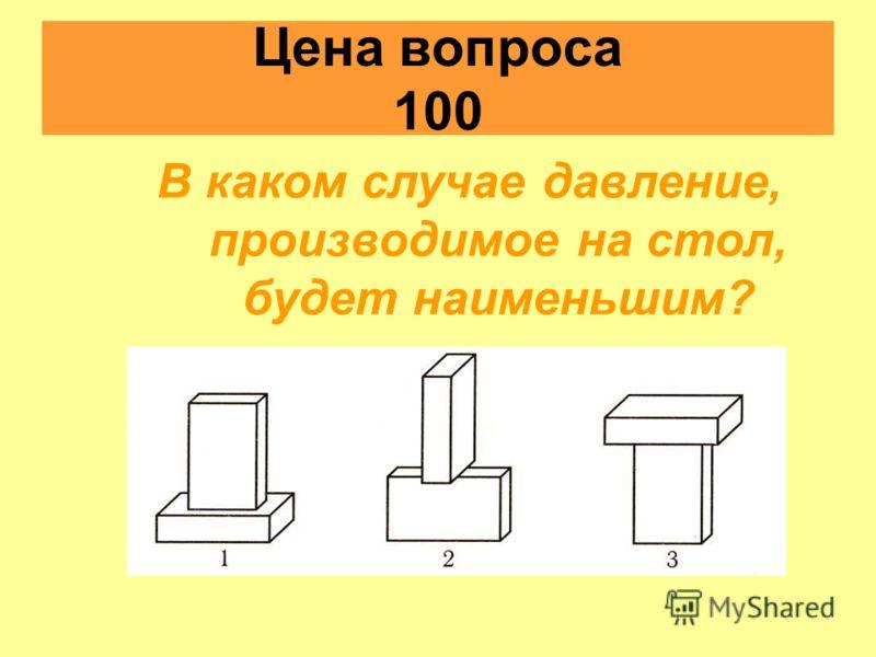 Цена вопроса 100 В каком случае давление, производимое на стол, будет наименьшим?