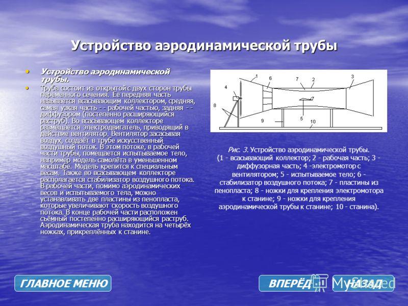 Устройство аэродинамической трубы Устройство аэродинамической трубы. Устройство аэродинамической трубы. Труба состоит из открытой с двух сторон трубы переменного сечения. Ее передняя часть называется всасывающим коллектором, средняя, самая узкая част
