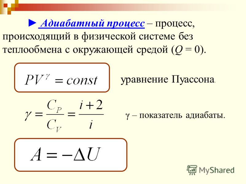 Адиабатный процесс – процесс, происходящий в физической системе без теплообмена с окружающей средой (Q = 0). γ – показатель адиабаты. уравнение Пуассона.