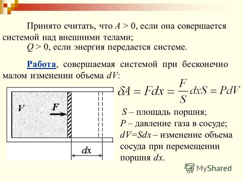 Принято считать, что A > 0, если она совершается системой над внешними телами; Q > 0, если энергия передается системе. Работа, совершаемая системой при бесконечно малом изменении объема dV: S – площадь поршня; P – давление газа в сосуде; dV=Sdx – изм