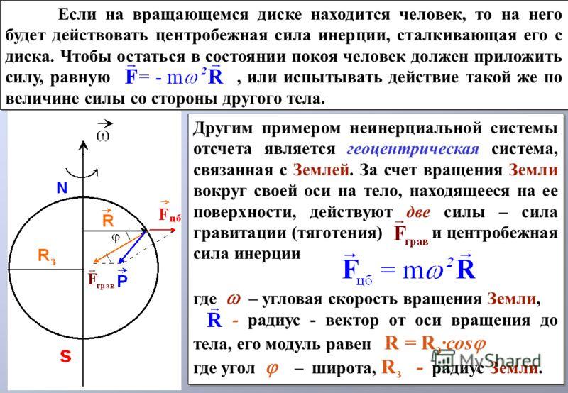 Если на вращающемся диске находится человек, то на него будет действовать центробежная сила инерции, сталкивающая его с диска. Чтобы остаться в состоянии покоя человек должен приложить силу, равную, или испытывать действие такой же по величине силы с