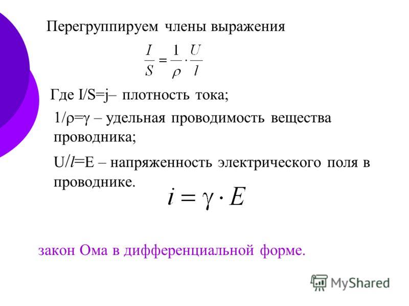 Перегруппируем члены выражения Где I/S=j– плотность тока; 1/ = – удельная проводимость вещества проводника; U / l = Е – напряженность электрического поля в проводнике. закон Ома в дифференциальной форме.
