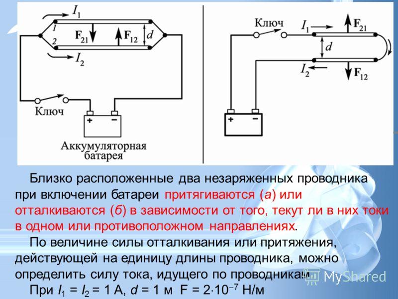 Близко расположенные два незаряженных проводника при включении батареи притягиваются (а) или отталкиваются (б) в зависимости от того, текут ли в них токи в одном или противоположном направлениях. По величине силы отталкивания или притяжения, действую