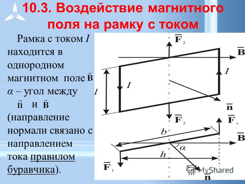 10.3. Воздействие магнитного поля на рамку с током Рамка с током I находится в однородном магнитном поле α – угол между и (направление нормали связано с направлением тока правилом буравчика).