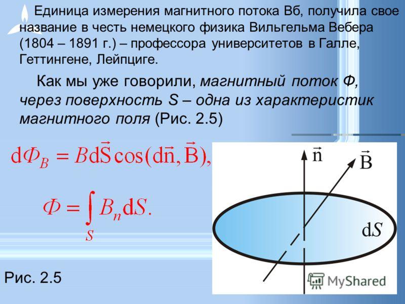Единица измерения магнитного потока Вб, получила свое название в честь немецкого физика Вильгельма Вебера (1804 – 1891 г.) – профессора университетов в Галле, Геттингене, Лейпциге. Как мы уже говорили, магнитный поток Ф, через поверхность S – одна из