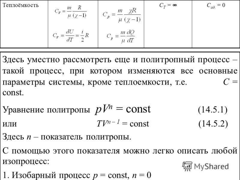 Теплоёмкость C Т = С ад. = 0 Здесь уместно рассмотреть еще и политропный процесс – такой процесс, при котором изменяются все основные параметры системы, кроме теплоемкости, т.е. С = const. Уравнение политропы pV n = const (14.5.1) или TV n – 1 = cons
