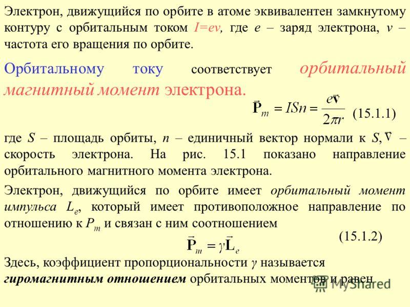 Электрон, движущийся по орбите в атоме эквивалентен замкнутому контуру с орбитальным током I=еν, где е – заряд электрона, ν – частота его вращения по орбите. Орбитальному току соответствует орбитальный магнитный момент электрона. где S – площадь орби