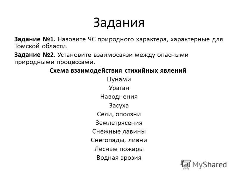 Задания Задание 1. Назовите ЧС природного характера, характерные для Томской области. Задание 2. Установите взаимосвязи между опасными природными процессами. Схема взаимодействия стихийных явлений Цунами Ураган Наводнения Засуха Сели, оползни Землетр