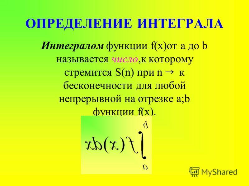 Из истории интегрального исчисления История понятия интеграла связана с задачами нахождения квадратур(вычисление площадей) и кубатур(вычисление объемов). INTEGRO-от латинского приводить в прежнее состояние, восстанавливать. Архимед ок.287-212 до н.э.