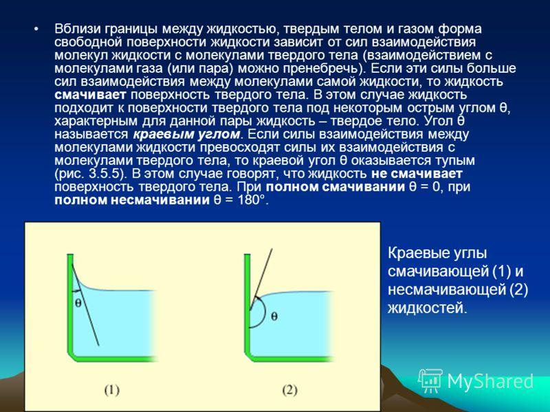 Вблизи границы между жидкостью, твердым телом и газом форма свободной поверхности жидкости зависит от сил взаимодействия молекул жидкости с молекулами твердого тела (взаимодействием с молекулами газа (или пара) можно пренебречь). Если эти силы больше