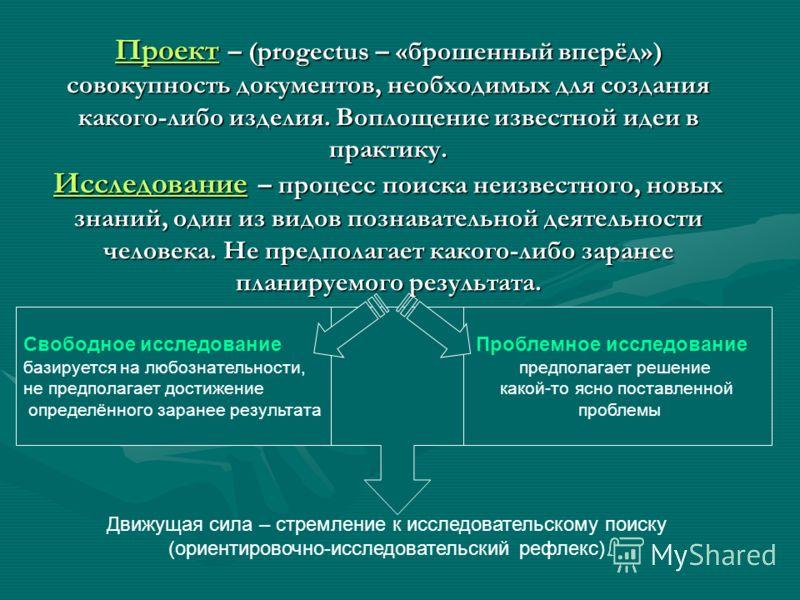 Проект – (progectus – «брошенный вперёд») совокупность документов, необходимых для создания какого-либо изделия. Воплощение известной идеи в практику. Исследование – процесс поиска неизвестного, новых знаний, один из видов познавательной деятельности