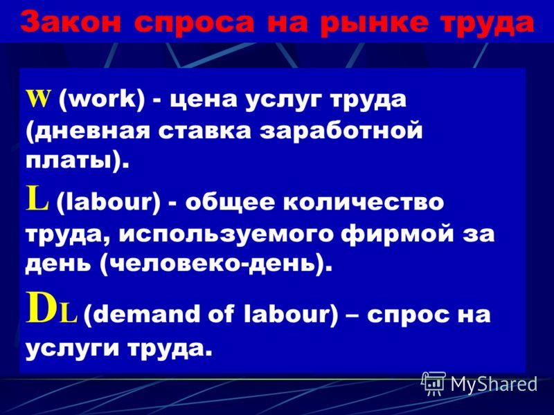 Закон спроса на рынке труда Чем меньше ставка заработной платы, тем большее количество работников готова нанять фирма. Чем выше ставка заработной платы, тем меньшее количество работников готова нанять фирма.