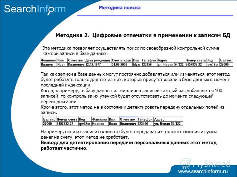 Методика поиска www.searchinform.ru Методика 2. Цифровые отпечатки в применении к записям БД Так как записи в базе данных могут постоянно добавляться или изменяться, этот метод будет работать только для тех из них, которые присутствовали в базе данны