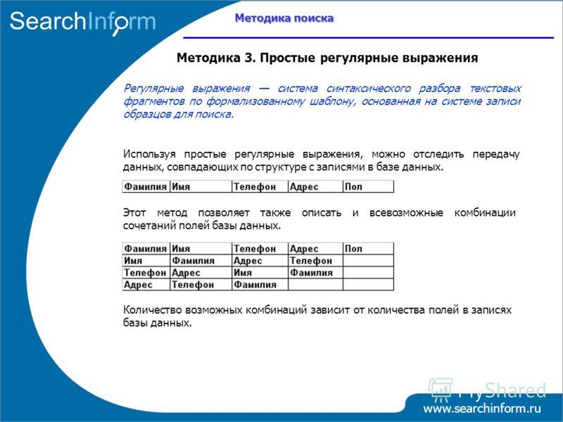 www.searchinform.ru Методика 3. Простые регулярные выражения Регулярные выражения система синтаксического разбора текстовых фрагментов по формализованному шаблону, основанная на системе записи образцов для поиска. Используя простые регулярные выражен