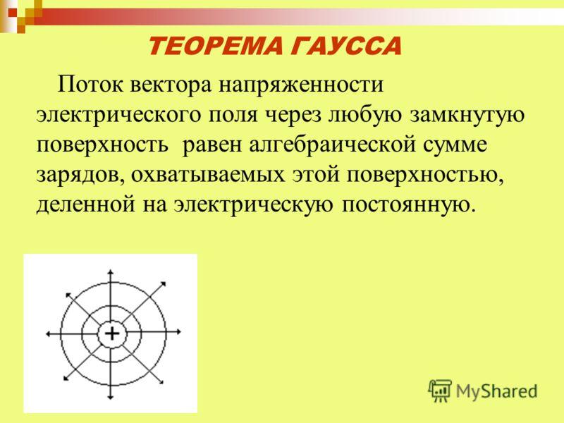 ТЕОРЕМА ГАУССА Поток вектора напряженности электрического поля через любую замкнутую поверхность равен алгебраической сумме зарядов, охватываемых этой поверхностью, деленной на электрическую постоянную.