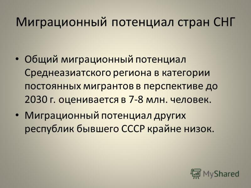 Миграционный потенциал стран СНГ Общий миграционный потенциал Среднеазиатского региона в категории постоянных мигрантов в перспективе до 2030 г. оценивается в 7-8 млн. человек. Миграционный потенциал других республик бывшего СССР крайне низок.