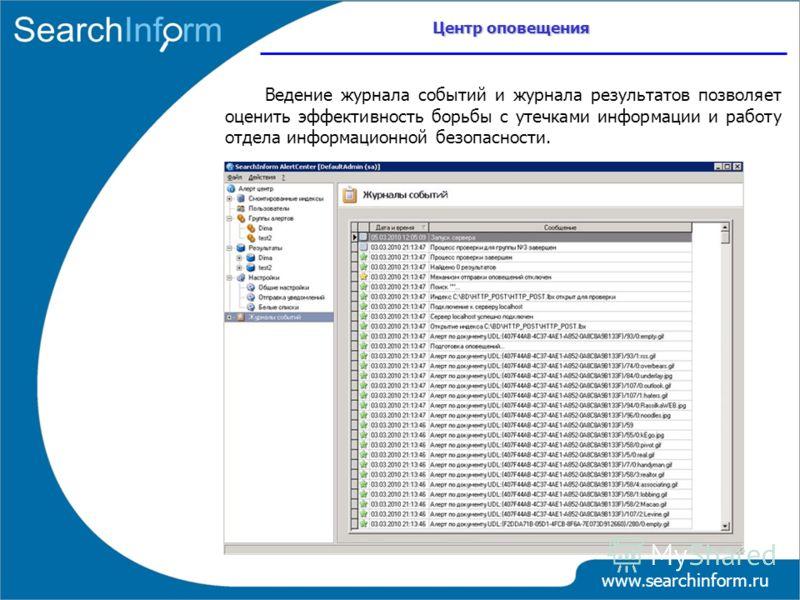Центр оповещения www.searchinform.ru Ведение журнала событий и журнала результатов позволяет оценить эффективность борьбы с утечками информации и работу отдела информационной безопасности.