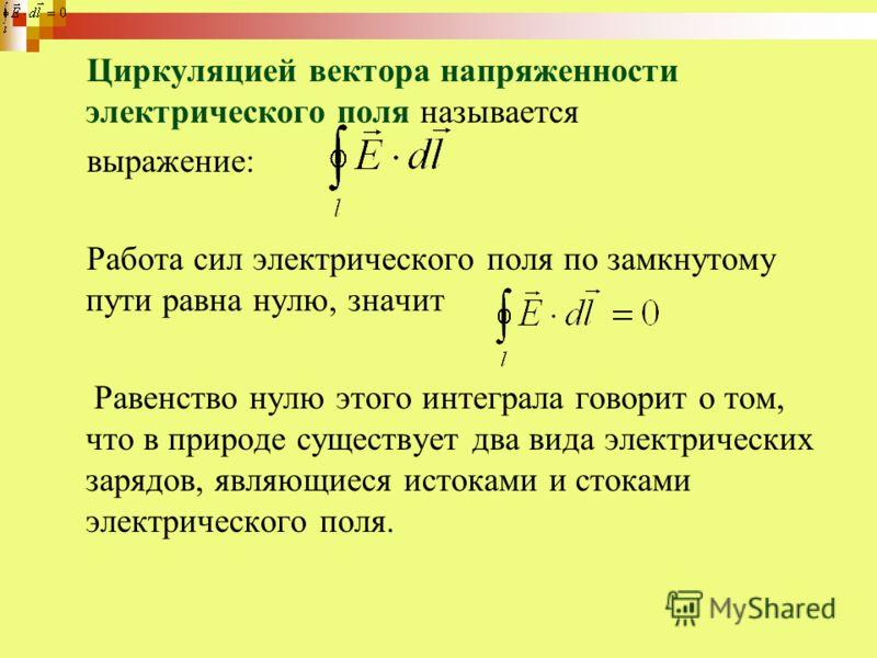 Циркуляцией вектора напряженности электрического поля называется выражение: Работа сил электрического поля по замкнутому пути равна нулю, значит Равенство нулю этого интеграла говорит о том, что в природе существует два вида электрических зарядов, яв