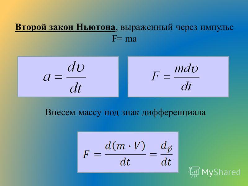 Второй закон Ньютона, выраженный через импульс F= ma Внесем массу под знак дифференциала