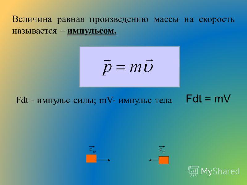 Величина равная произведению массы на скорость называется – импульсом. Fdt - импульс силы; mV- импульс тела Fdt = mV F 12 F 21
