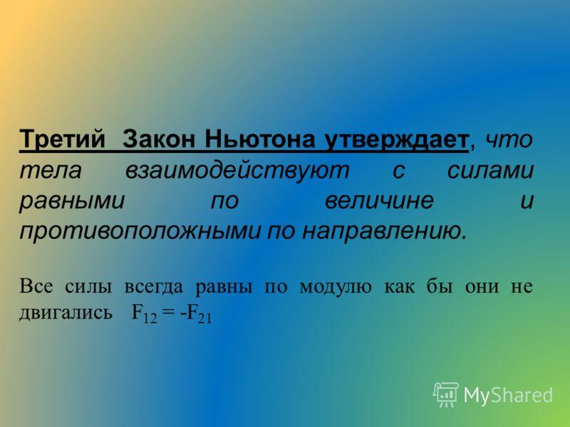 Третий Закон Ньютона утверждает, что тела взаимодействуют с силами равными по величине и противоположными по направлению. Все силы всегда равны по модулю как бы они не двигались F 12 = -F 21