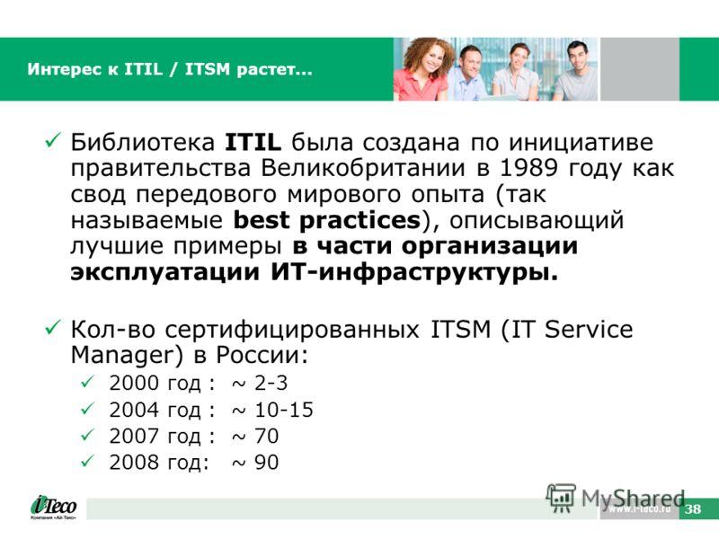 38 Интерес к ITIL / ITSM растет... Библиотека ITIL была создана по инициативе правительства Великобритании в 1989 году как свод передового мирового опыта (так называемые best practices), описывающий лучшие примеры в части организации эксплуатации ИТ-