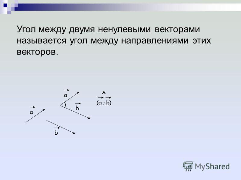 Угол между двумя ненулевыми векторами называется угол между направлениями этих векторов. (a ; b) ^ ) a b a b