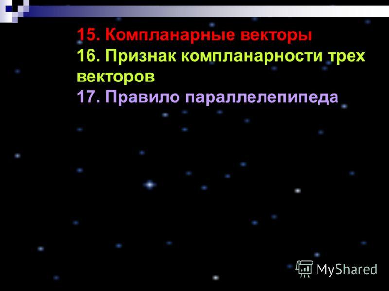 15. Компланарные векторы 16. Признак компланарности трех векторов 17. Правило параллелепипеда