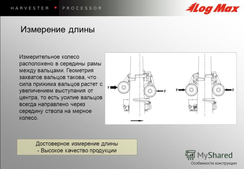 Особенности конструкции Достоверное измерение длины - Высокое качество продукции Измерительное колесо расположено в середины рамы между вальцами. Геометрия захватов вальцов такова, что сила прижима вальцов растет с увеличением выступания от центра, т