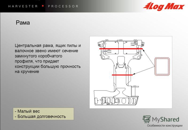 Особенности конструкции - Малый вес - Большая долговечность Центральная рама, ящик пилы и валочное звено имеют сечение замкнутого коробчатого профиля, что придает конструкции большую прочность на кручение Рама