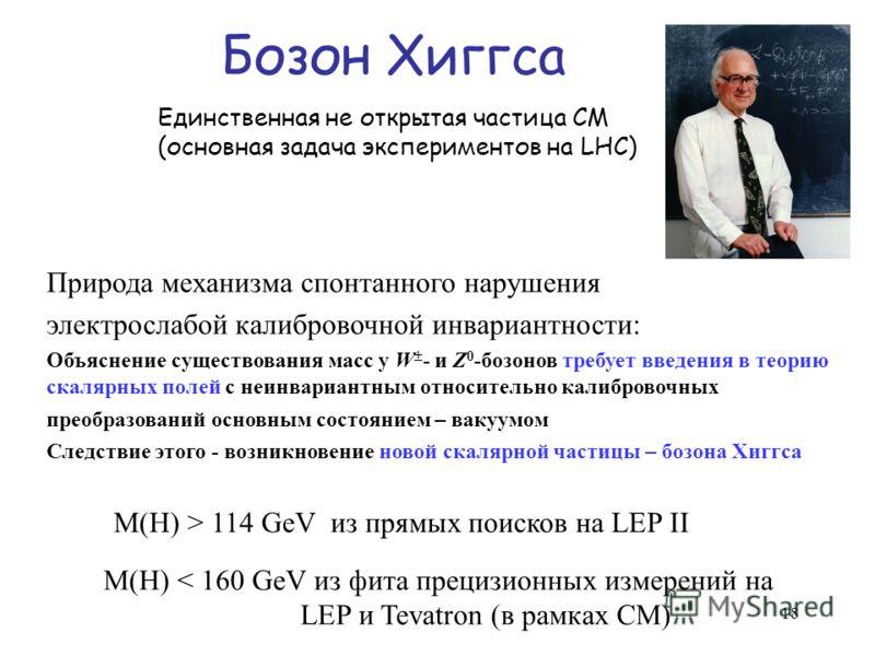 Бозон Хиггса M(H) > 114 GeV из прямых поисков на LEP II M(H) < 160 GeV из фита прецизионных измерений на LEP и Tevatron (в рамках СМ) Единственная не открытая частица СМ (основная задача экспериментов на LHC) Природа механизма спонтанного нарушения э