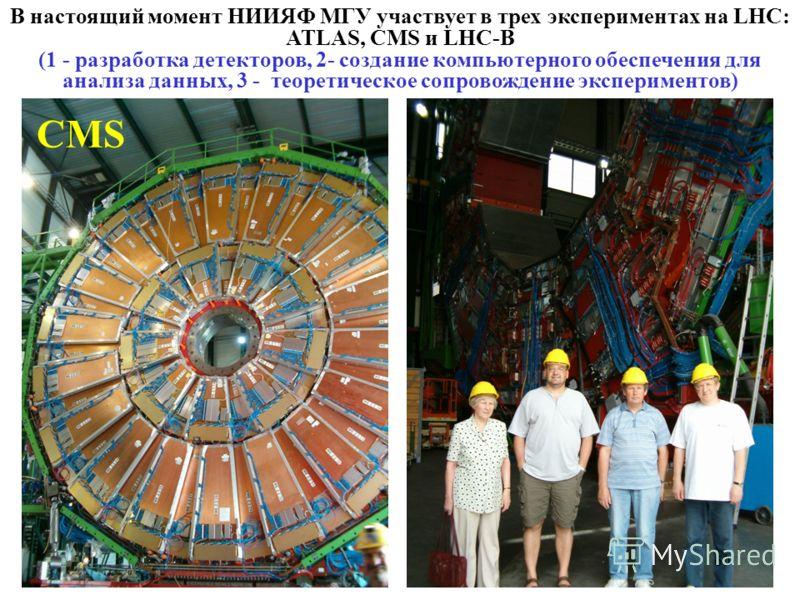 В настоящий момент НИИЯФ МГУ участвует в трех экспериментах на LHC: ATLAS, CMS и LHC-B (1 - разработка детекторов, 2- создание компьютерного обеспечения для анализа данных, 3 - теоретическое сопровождение экспериментов) CMS 60