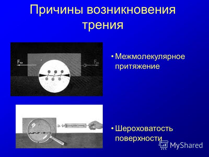 Причины возникновения трения Межмолекулярное притяжение Шероховатость поверхности
