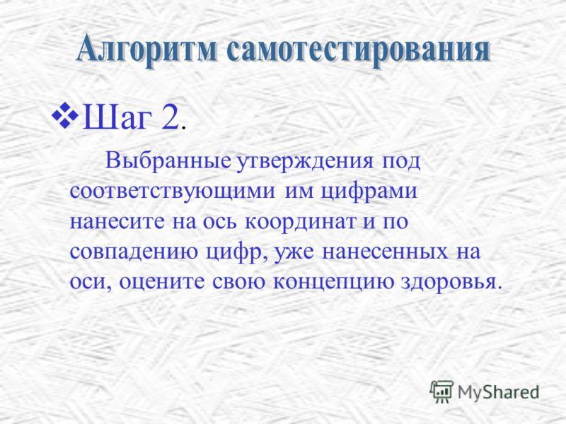 Шаг 2.2. Выбранные утверждения под соответствующими им цифрами нанесите на ось координат и по совпадению цифр, уже нанесенных на оси, оцените свою концепцию здоровья.