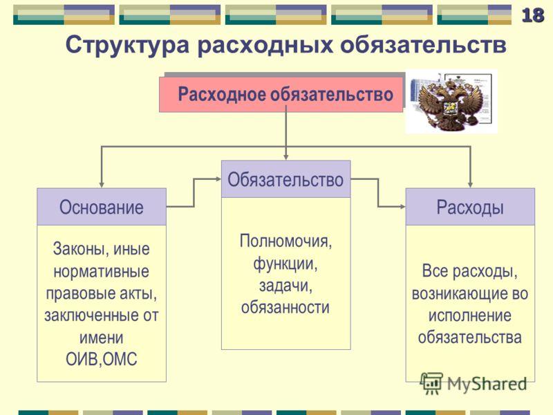 Структура расходных обязательств Расходное обязательство Законы, иные нормативные правовые акты, заключенные от имени ОИВ,ОМС Полномочия, функции, задачи, обязанности Все расходы, возникающие во исполнение обязательства Основание Обязательство Расход