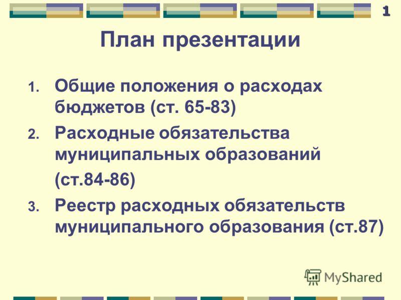 План презентации 1. Общие положения о расходах бюджетов (ст. 65-83) 2. Расходные обязательства муниципальных образований (ст.84-86) 3. Реестр расходных обязательств муниципального образования (ст.87)1