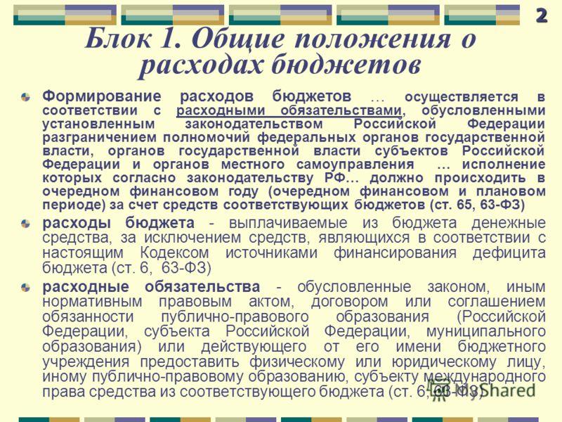 Блок 1. Общие положения о расходах бюджетов Формирование расходов бюджетов … осуществляется в соответствии с расходными обязательствами, обусловленными установленным законодательством Российской Федерации разграничением полномочий федеральных органов