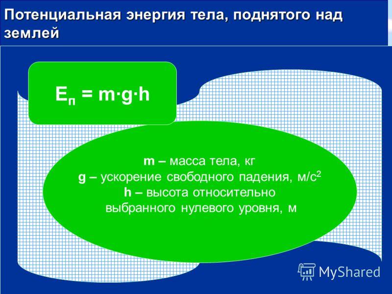 Потенциальная энергия тела, поднятого над землей m – масса тела, кг g – ускорение свободного падения, м/с 2 h – высота относительно выбранного нулевого уровня, м Е п = mgh