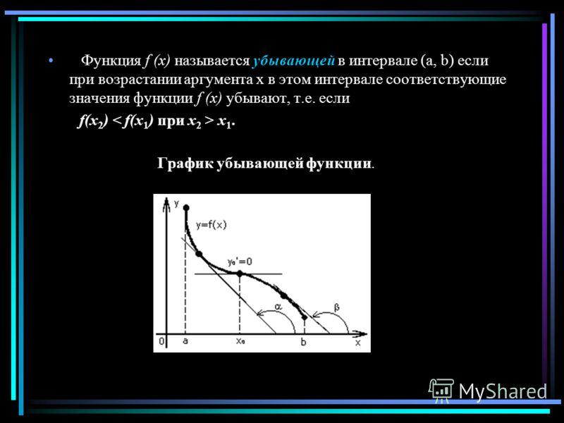 Функция f (x) называется убывающей в интервале (a, b) если при возрастании аргумента x в этом интервале соответствующие значения функции f (x) убывают, т.е. если f(x 2 ) x 1. График убывающей функции.