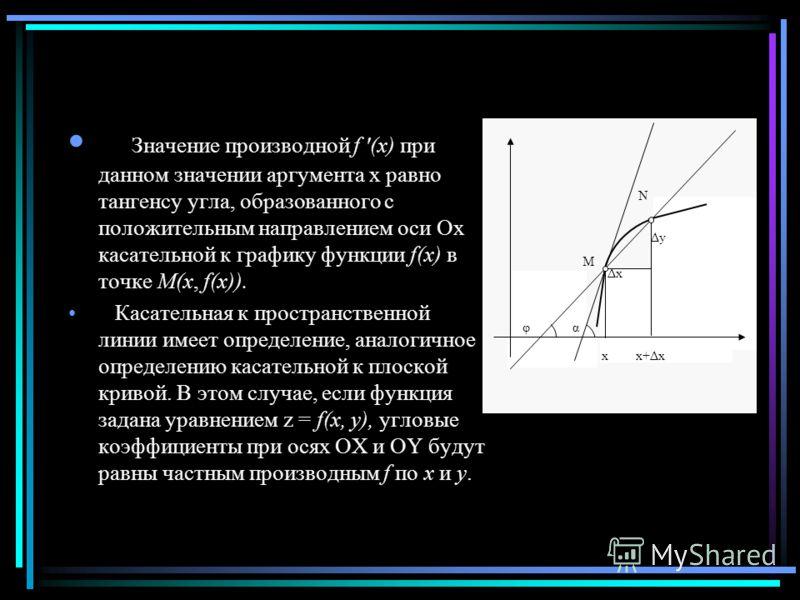 Значение производной f '(x) при данном значении аргумента x равно тангенсу угла, образованного с положительным направлением оси Ox касательной к графику функции f(x) в точке M(x, f(x)). Касательная к пространственной линии имеет определение, аналогич