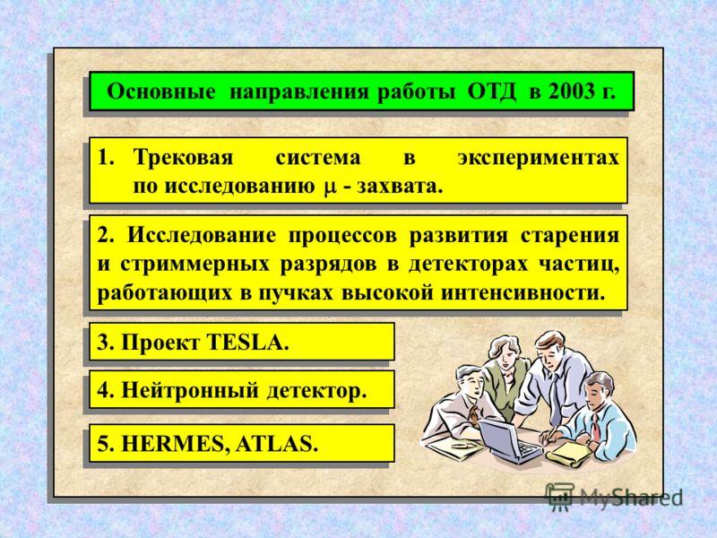 1.Трековая система в экспериментах по исследованию - захвата. 2. Исследование процессов развития старения и стриммерных разрядов в детекторах частиц, работающих в пучках высокой интенсивности. 3. Проект TESLA. 4. Нейтронный детектор. 5. HERMES, ATLAS