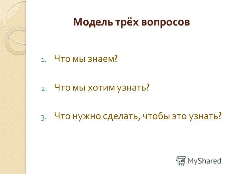 Модель трёх вопросов 1. Что мы знаем ? 2. Что мы хотим узнать ? 3. Что нужно сделать, чтобы это узнать ?