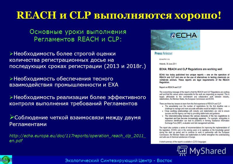REACH и CLP выполняются хорошо! Экологический Синтезирующий Центр - Восток Основные уроки выполнения Регламентов REACH и CLP: Необходимость более строгой оценки количества регистрационных досье на последующих сроках регистрации (2013 и 2018г.) Необхо