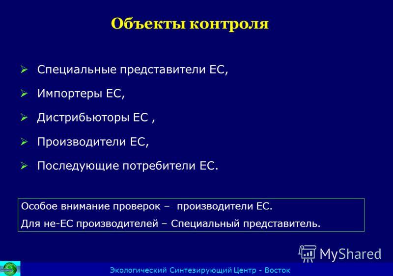 Объекты контроля Экологический Синтезирующий Центр - Восток Специальные представители ЕС, Импортеры ЕС, Дистрибьюторы ЕС, Производители ЕС, Последующие потребители ЕС. Особое внимание проверок – производители ЕС. Для не-ЕС производителей – Специальны