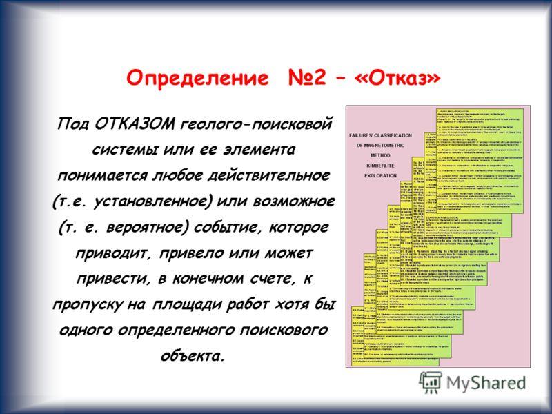 10 Определение 2 – «Отказ» Под ОТКАЗОМ геолого-поисковой системы или ее элемента понимается любое действительное (т.е. установленное) или возможное (т. е. вероятное) событие, которое приводит, привело или может привести, в конечном счете, к пропуску