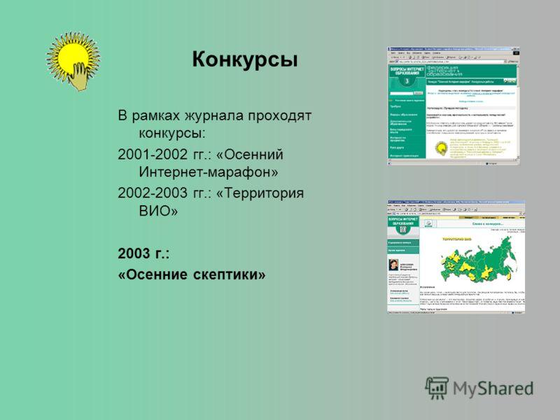 Конкурсы В рамках журнала проходят конкурсы: 2001-2002 гг.: «Осенний Интернет-марафон» 2002-2003 гг.: «Территория ВИО» 2003 г.: «Осенние скептики»