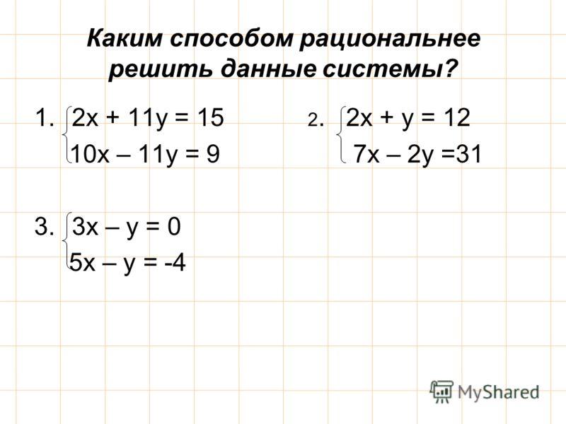 Каким способом рациональнее решить данные системы? 1.2х + 11у = 15 2. 2х + у = 12 10х – 11у = 9 7х – 2у =31 3.3х – у = 0 5х – у = -4