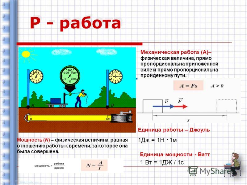 Р - работа Механическая работа (А)– физическая величина, прямо пропорциональна приложенной силе и прямо пропорциональна пройденному пути. Единица работы – Джоуль 1Дж = 1Н ּ 1м Единица мощности - Ватт 1 Вт = 1ДЖ / 1с Мощность (N) – физическая величина