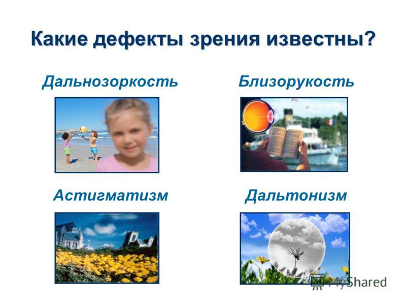Какие дефекты зрения известны? Дальнозоркость Астигматизм Близорукость Дальтонизм